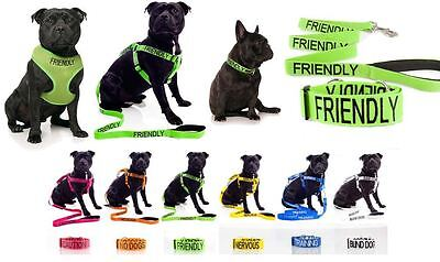 Warning Dog Collars Lead Leash Harness Vest Colour Coded Friendly Deaf S M L