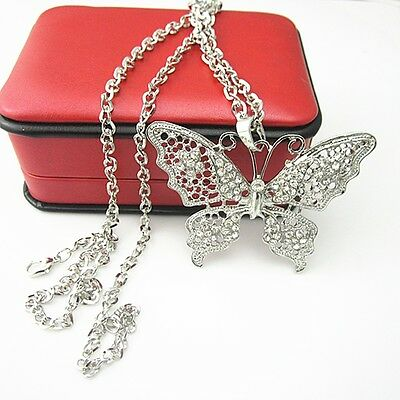 Vintage Antique Metal Full Crystal Silver Butterfly Pendant Long Chain Necklace