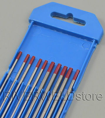 2% Thoriated WT20 Red TIG Welding Tungsten Electrode Assorted Size 2.4~3.2mm,10P