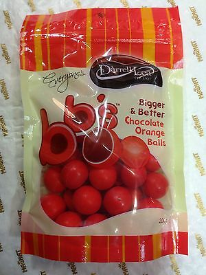 2 X Darrell Lea BB's Chocolate Orange Balls Bigger & Better 200g Regular Stock