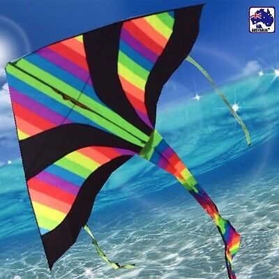 Rainbow Kite 150x80cm Line Grip included Easy to Fly OKITE2501&OKLIN2100