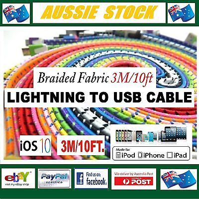 3M 3 Metre 8 Pin USB Lightning Flat Braided Fabric Charge Cable iPhone iOS 9 10