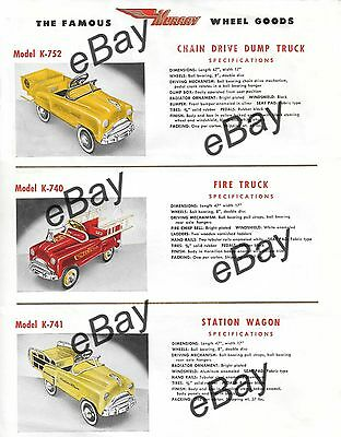 VINTAGE PRINT  AD 8 X 11 1950's  MURRAY PEDAL CAR fire truck station wagon