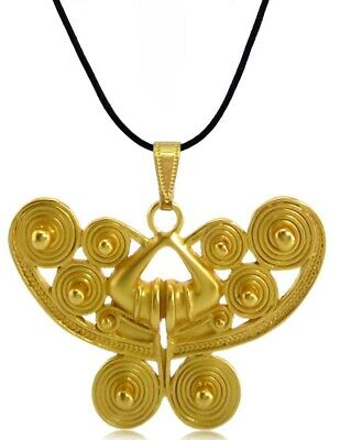 ACROSS THE PUDDLE 24k GP Pre-Columbian Spirals Butterfly Pendant Necklace