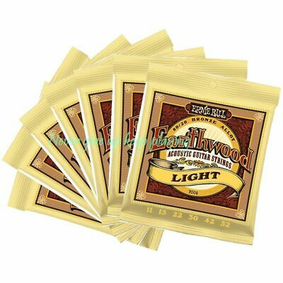 6 x Ernie Ball 2004 Earthwood Light 80/20  Acoustic Guitar Strings 11 - 52