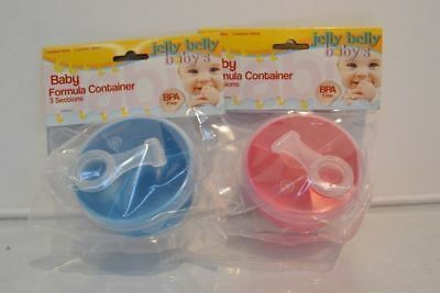 4 Baby Formula containers 3 sections BPA Free 165ml Pink or Blue Be Prepared