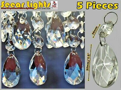 5 Chandelier Drops Glass Crystals Oval Beads Light Parts Antique Spec Droplets
