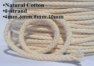 Cotton Rope Line Cord Tie Sash Washing Clothes Pulley Macrame 8 Strand 4-10mm