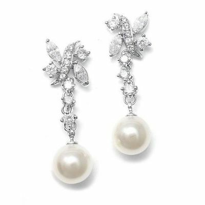 Luxurious Pearl And Cubic Zirconia Bridal Earrings With 10mm Ivory Color Drop