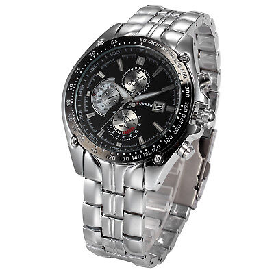 Luxury Sport Mens Man Stainless Steel Date Quartz Analog Black Dial Wrist Watch
