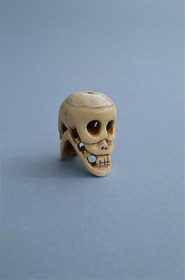 Antiqued Double Sided Bovine Bone Human Skull Pendant Bead Necklace Pendent Abs