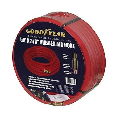 "Good Year 50' x 3/8"" 250 PSI Rubber Air Compressor Hose 12674 Goodyear USA Made"