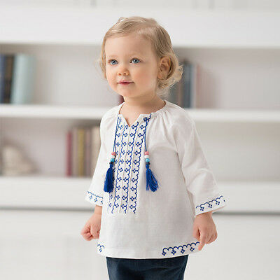 SALE 20% off Baby girl shirt with tassels and embroidery