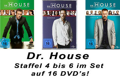 16 DVDs  *  DR. HOUSE  -  STAFFEL / SEASON  4 - 6 IM SET # NEU OVP +