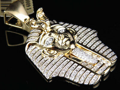 Egyptian Pharaoh King Tut Genuine Diamond Pendant in 10k Yellow Gold (1.35 Ct)