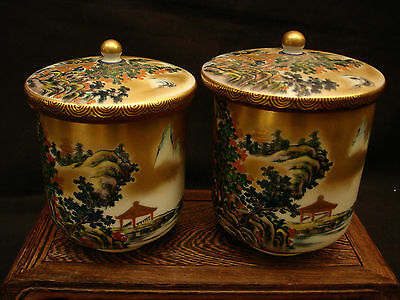 MARKED Kutani Seizan JAPANESE SHOWA PERIOD KUTANI HIS & HERS COVERED TEA CUP SET