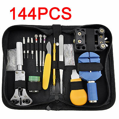 144PCS Watch Repair Watchmaker Back Case Spring Pin Remover Opener Bar Tool Kit
