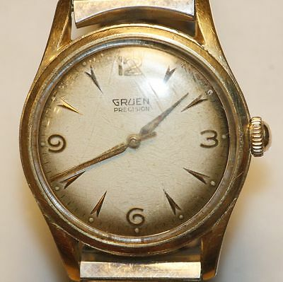 "Vintage GRUEN PRECISION Swiss Watch. 17 Jewels ""Antiqued"" Dial"