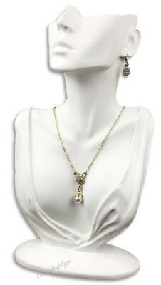 "12 1/4"" WHITE JEWELRY EARRING DISPLAY BUST w/PARTIAL FACE NECKLACE DISPLAY STAND"