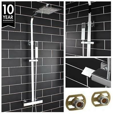 Square Twin Head Thermostatic Mixer Shower Chrome Bathroom  Exposed Valve