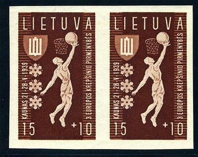 Lithuania Scott# B52 Var Mi# 429U Pair Imperforated Mint Nh As Shown