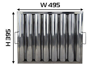 """Baffle Grease Filter Stainless Steel 395hx495wx48mm (16x20x2"""") Canopy Extraction"""