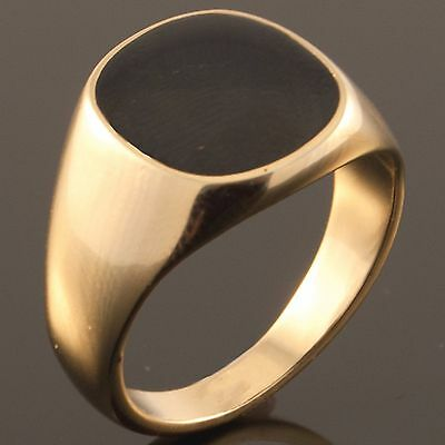 Yellow Gold Plated Black Onyx Mens Signet Wedding Band Pinky Ring (K to Z+3) NEW