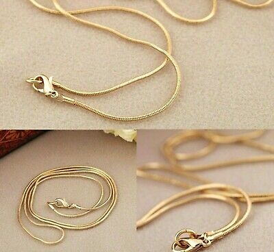 """Gold Filled 16"""" to 30"""" Long Solid Mens Snake Chain 1mm Wide Womens Necklace New"""