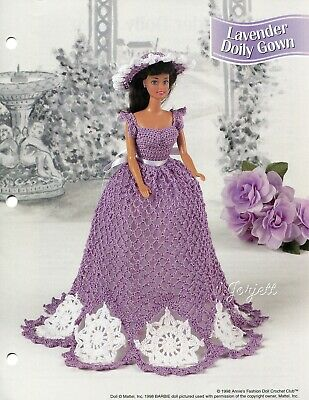 Cotillion Hoop Gown fits Barbie Doll Annie/'s Crochet PATTERN//INSTRUCTIONS NEW