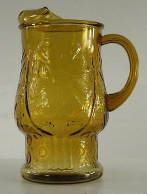 Vintage Kitchen Glass LIBBEY COUNTRY GARDENS Amber Daisy Drink Pitcher