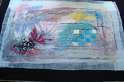 """Tapestry by Israeli artist Moshe Monzon,signed by artist,1/1,""""World of Creation"""""""
