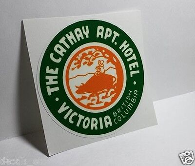 THE CATHAY APT. HOTEL British Columbia Vintage Style Travel Decal, Vinyl Sticker