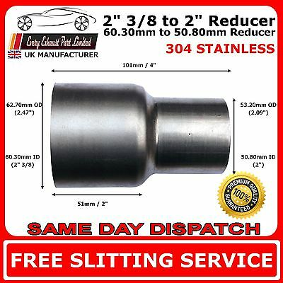 "2.375"" to 2"" Stainless Steel Flared Exhaust Reducer Connector Pipe Tube"