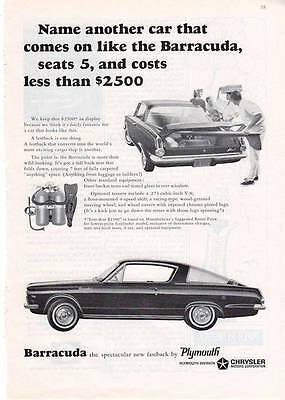 1964 Plymouth Barracuda 2-Door...Costs less Than $2500  PRINT AD