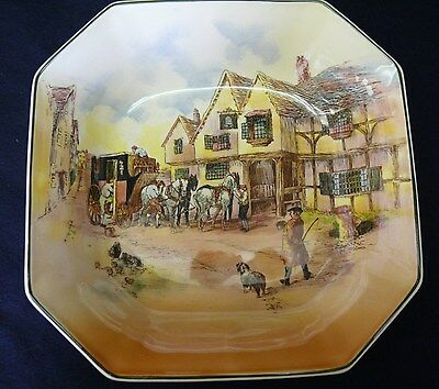 "VINTAGE ROYAL DOULTON 'COACHING SCENES' 9 1/2"" SQ.FRUIT BOWL D6393 c.1950's"