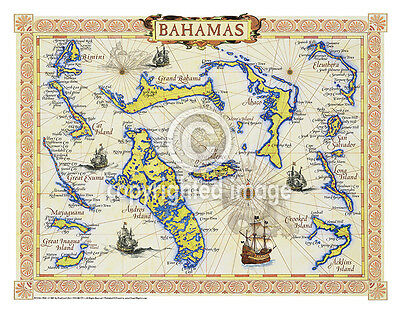 """19.5 x 25"""" Bahamas Vintage Look Map Poster Printed on Parchment Paper"""