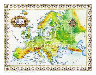 """19.5 x 25/"""" Puerto Rico Vintage Look Map Printed on Frenchtone Parchment Paper"""