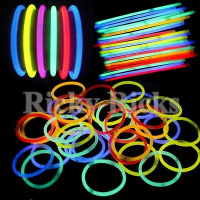 1000 Glow Sticks Bracelets Neon Light Colors Party Favors Rally Raves EDC 8""
