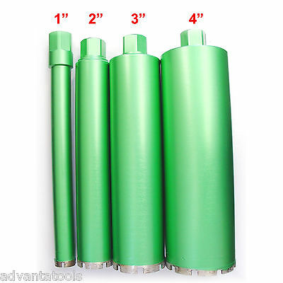 "1"", 2"", 3"" & 4"" Combo - Wet Diamond Core Drill Bit for Concrete - Premium Green"