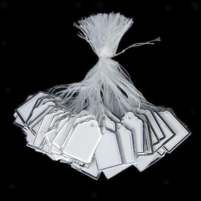 500 Silver Border Label Tie String Strung Jewelry Display Swing Paper Price Tags