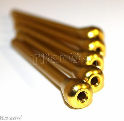 5 x Metal Snuff Sniffer Snorter Nasal Straw Tube Gold Color