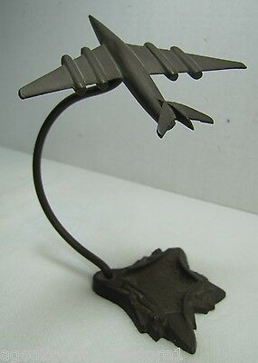 Old Art Deco Bronze Airplane Desk Ashtray Coin Trinkets jet fighter plane ornate