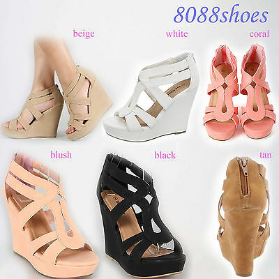 7c4c9cd542 Women's Cute Wedge Heel Platform Open Toe Sandal Shoes 6 Color Size 5 - 10  NEW