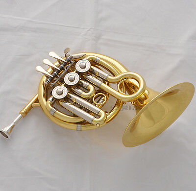 Top Gold Piccolo Bb MiNi French Horn Engraving Bell Pocket horn With Case Mouth