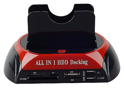 "2.5"" 3.5"" SATA IDE HDD USB Dual Dock Docking Station ESATA OTB HUB Card Reader"