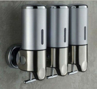 New 500ML Stainless Steel Bathroom Soap Dispenser 3 Liquid Soap Box Wall Mounted