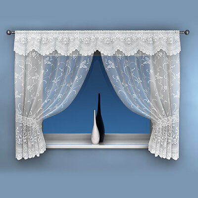 New Butterfly Summer Floral Net Curtain Voile Window Set Panel 5 Sizes White