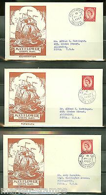 Great Britain 1957 Lot Of Three Mayflower Ii Maiden Voyage  Covers  As Shown
