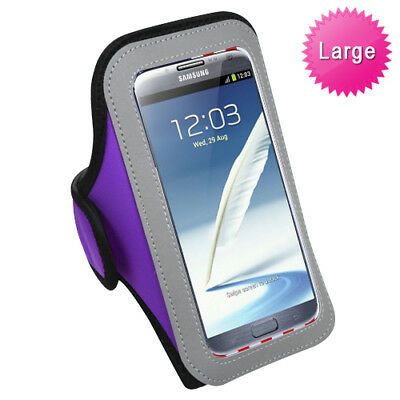 Large Neoprene Sports Armband Purple Phone Carry Case for Samsung Galaxy Note 2