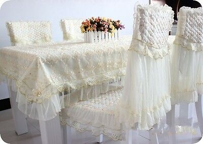 beige Lace tablecloth with golden Flower knit Chiffon Chair cushion tidy HBL1